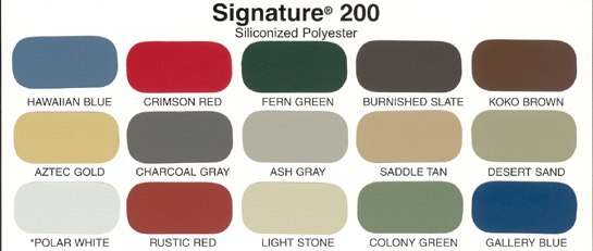 Straight Line Metal Buildings Color Chart